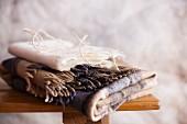 Cord on two folded woollen blankets