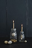 Candle holders made from screw-top jars