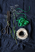 Natural cord, vintage scissors and green string on blue fabric