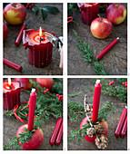 Weihnachtsapfel mit Kerze, Lärchenzapfenzweig und Wacholderzweig dekorieren