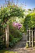 Stone path leading through climber-covered archway into summery garden