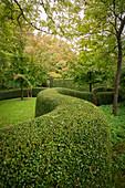 Formschnitthecke schlängelt sich durch Gartenanlage (Les Jardin de Castillon, Frankreich)