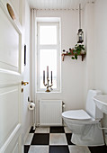 Simple toilet with chequered floor