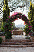 Arch covered in flowering bougainvillea on terrace with a view