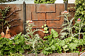Bed of thistles and rhubarb in front of a metal wall with trellises
