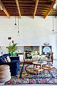 Vintage-furniture in living room with floral rug
