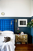 Cat on bed with button-tufted headboard against two-tone wall