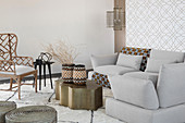 Wintry ethnic-style living room in pale shades