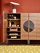Walnut drinks cabinet with open door