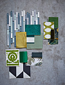 Mood board of various materials in shades of green