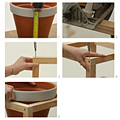 Build plant stands out of wooden sticks