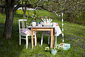 Easter table below tree in garden