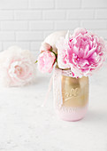 Peonies in jar painted pink and gold