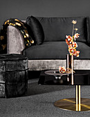 Back velvet sofa, stool and orchid on coffee table