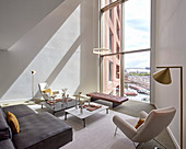 Panoramic view of canal from luxurious living room