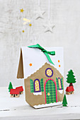 Hand-crafted, gingerbread-house gift bags