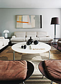 White coffee table and sofa set in living room
