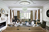 Glamorous living room in champagne colors