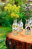 Gartenkräuter in Glasflaschen mit Anhängern aus Holzscheiben