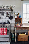 Stove and vintage table in country kitchen