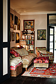 Various patterned textiles in cosy living room