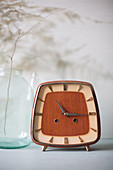 Rectangular retro alarm clock with wooden face