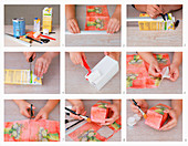 Instructions for making vases from drinks cartons using napkin decoupage