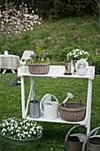 Körbe, Gießkannen und Pflanzen auf einem weißen Pflanztisch im Garten