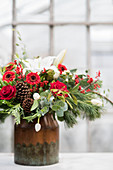 Festive bouquet with white and red flowers