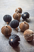 Brown and black paper baubles