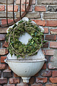 Wreath of ivy leaves and ivy flowers on old sink