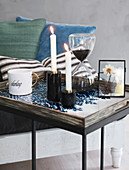 Modern vanitas still-life arrangement on tray table