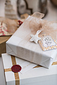 Wrapped present with label and wax seal