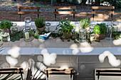 Mit Kräutertöpfen und Windlichtern dekorierter Tisch im Freien