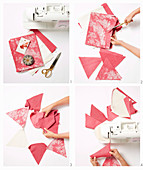 Instructions for a pennant chain made of red and white fabric
