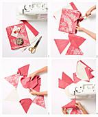 Anleitung für eine Wimpelkette aus rotem und weißem Stoff