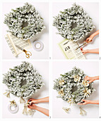 Instructions for a wreath with tassels made of sheet music