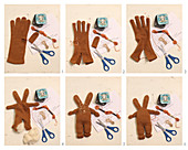 Instructions for making cloth rabbits from old gloves