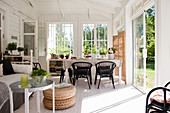 Conservatory decorated in Scandinavian style
