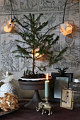 Small fir tree on cake stand amongst festive decorations