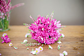 Flower ball made from chrysanthemums and heather