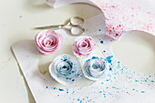 Roses made from speckled paper