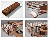 Anleitung für einen Couchtisch aus Holz und Rindenmatten