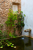 Water flowing from spout into pond against stone wall