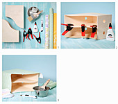 Instructions for making a corner shelving unit from box files covered in wallpaper