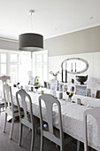 Scandinavian-style dining room in shades of grey