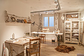White shabby-chic hobby room