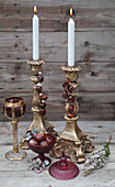 Candlesticks with handmade horse-chestnut decorations