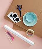 Materials for making a cardboard cat cave
