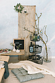 Rustic buffet and drinks stand for indoor picnic